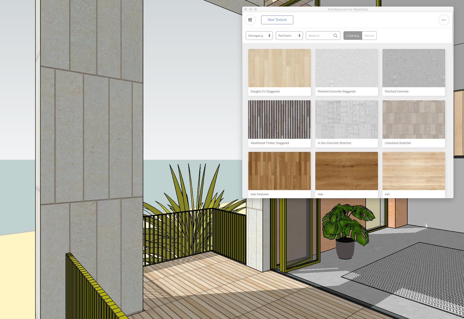 Screenshot of Architextures for SketchUp opened in SketchUp window