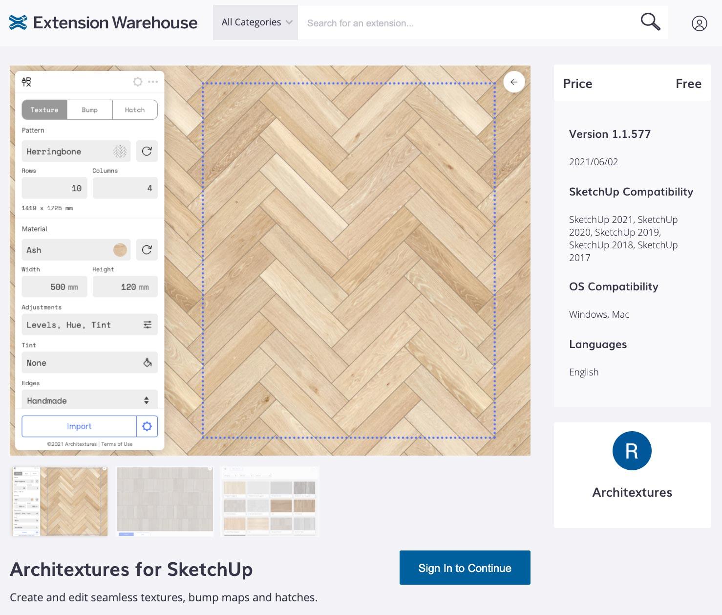 Screenshot of SketchUp Extension Warehouse interface