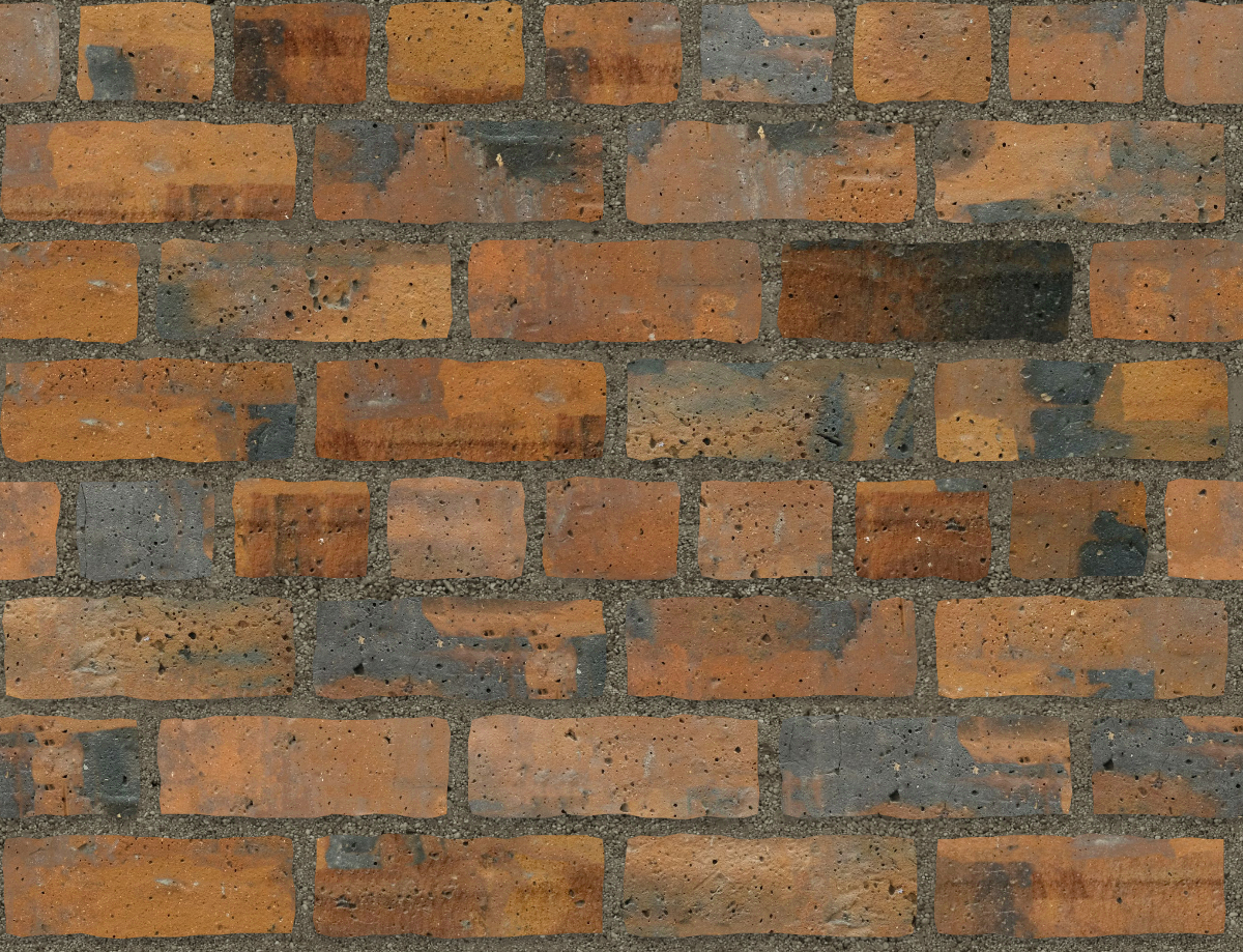 A seamless brick texture with industrial brick  arranged in a common pattern