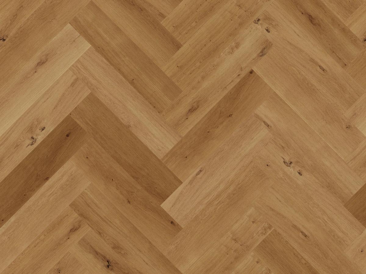 A seamless wood texture with oak boards arranged in a herringbone pattern