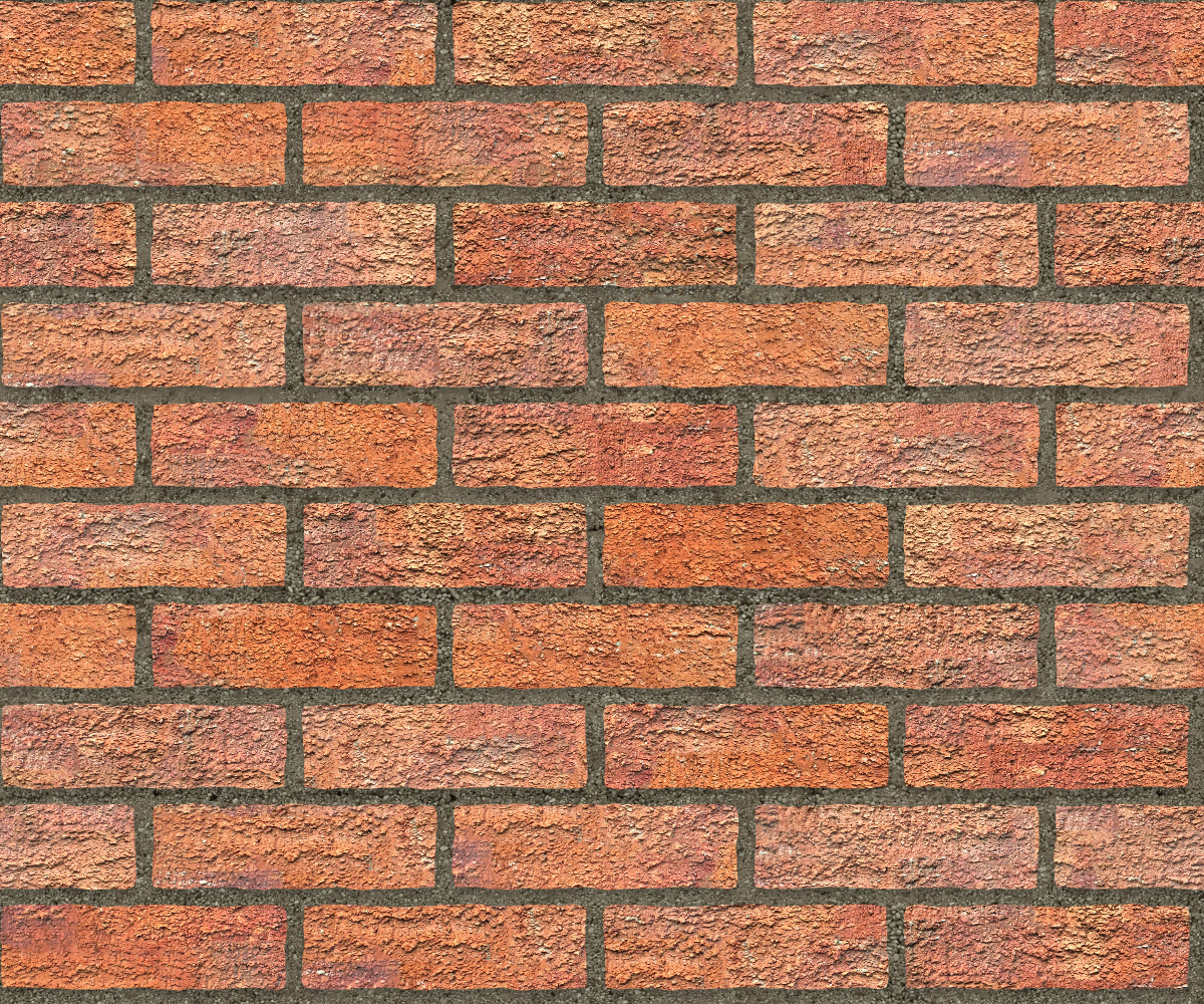 A seamless brick texture with rusticated red brick  arranged in a stretcher pattern