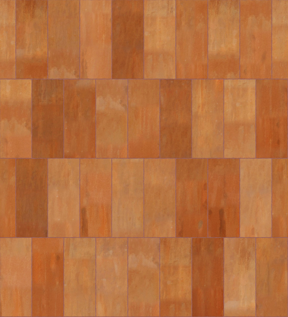 A seamless metal texture with corten steel a sheets arranged in a stretcher pattern