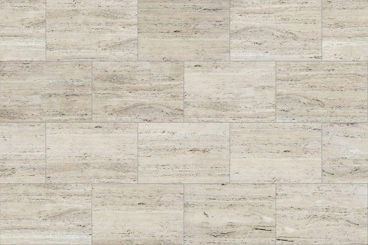 A seamless stone texture with travertine blocks arranged in a stretcher pattern