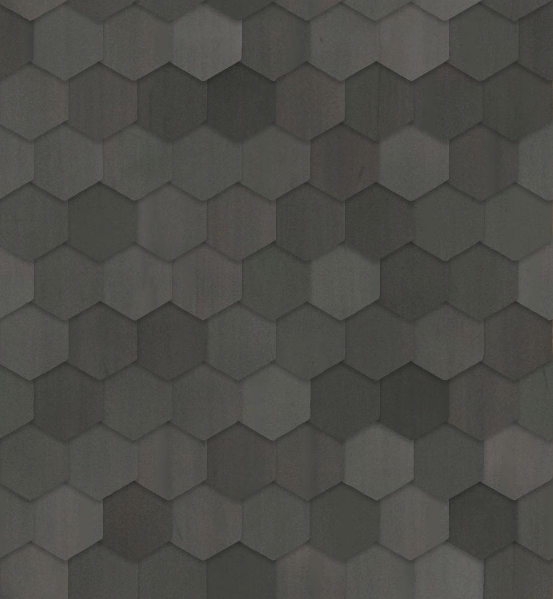 A seamless metal texture with zinc sheets arranged in a hexagonal pattern