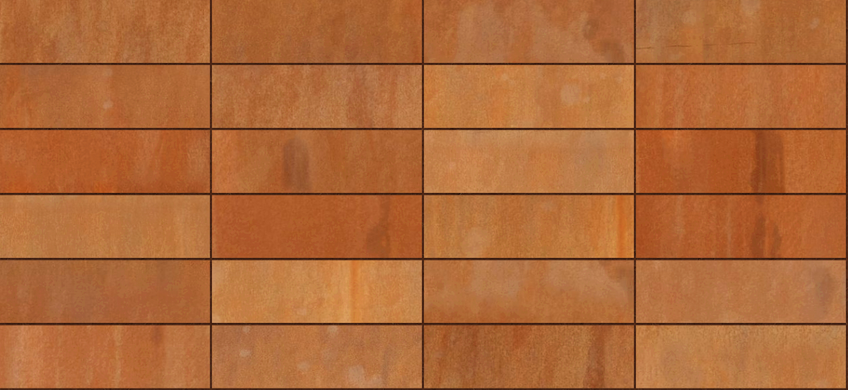 A seamless metal texture with corten steel a sheets arranged in a stack pattern