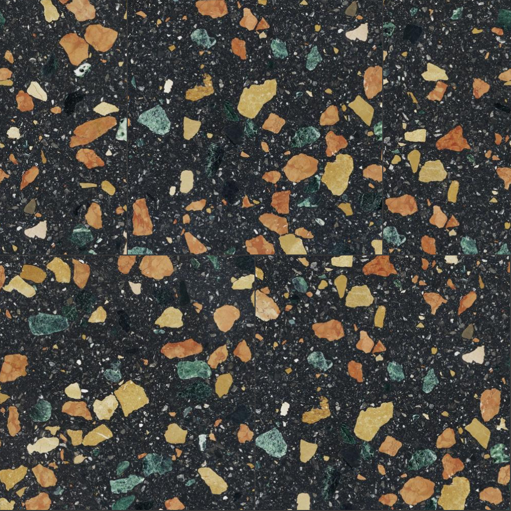 A seamless terrazzo texture with marmoreal  arranged in a stretcher pattern