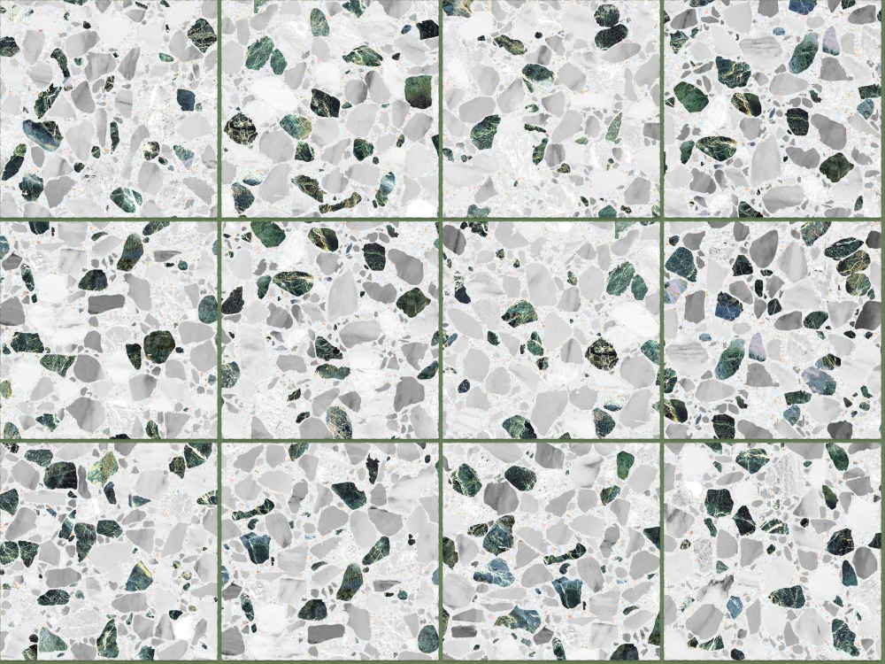 A seamless terrazzo texture with inverna terrazzo  arranged in a stack pattern