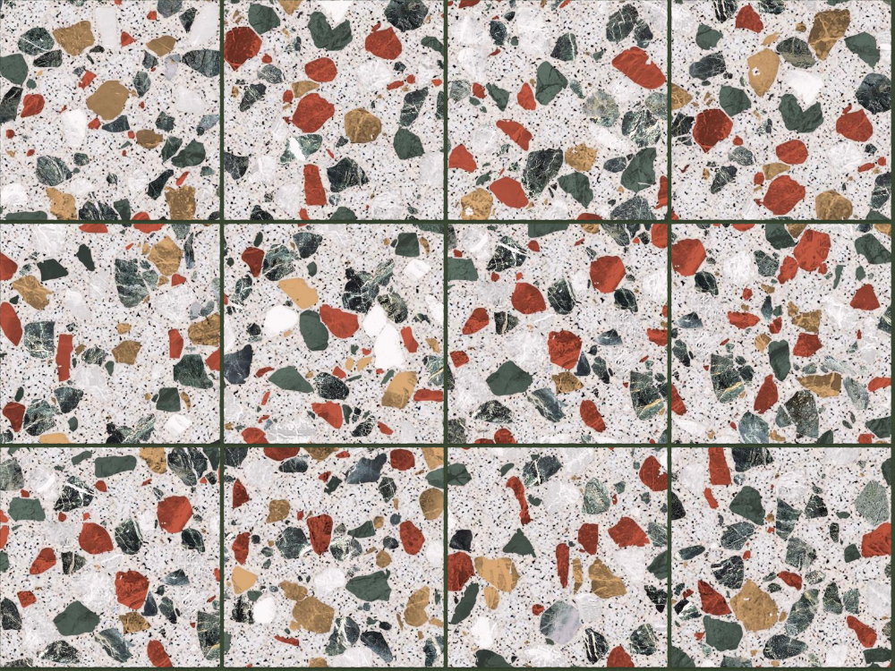 A seamless terrazzo texture with montanita terrazzo  arranged in a stack pattern