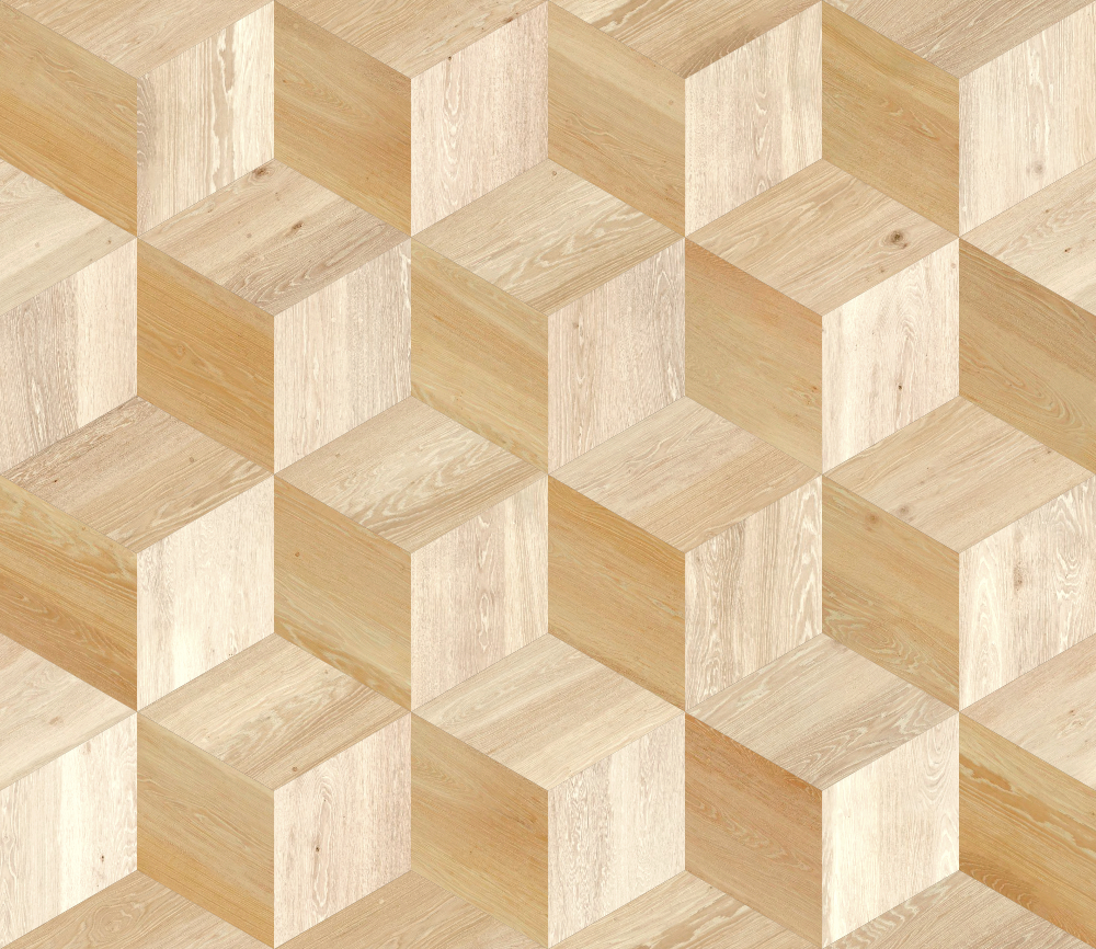 A seamless wood texture with ash boards arranged in a cubic pattern
