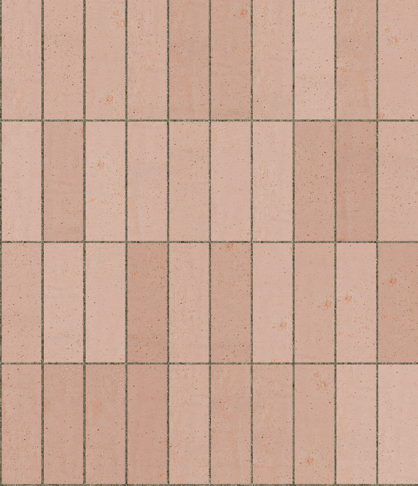 A seamless ceramic texture with terracotta tiles arranged in a stack pattern