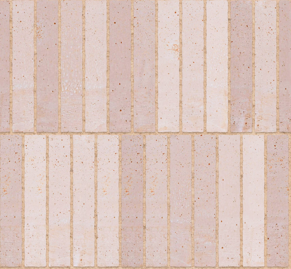 A seamless ceramic texture with terracotta tiles arranged in a stretcher pattern