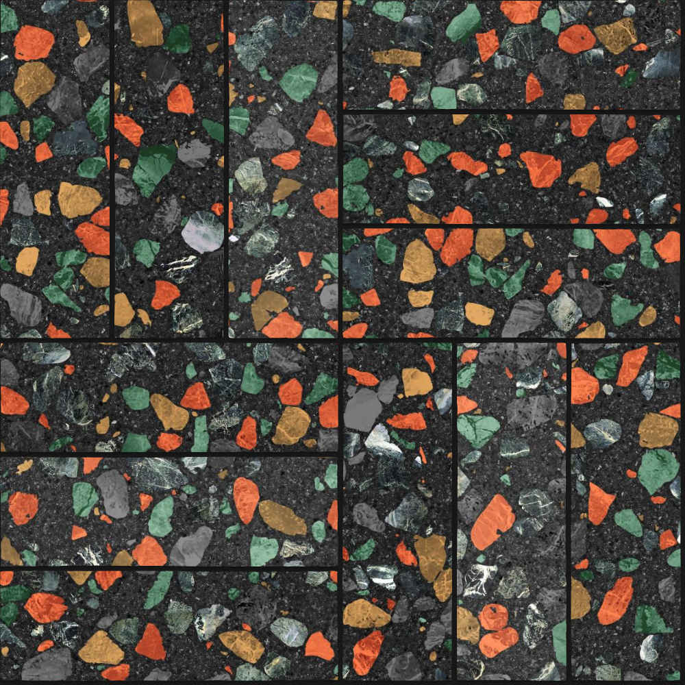A seamless terrazzo texture with colazzo terrazzo  arranged in a basketweave pattern