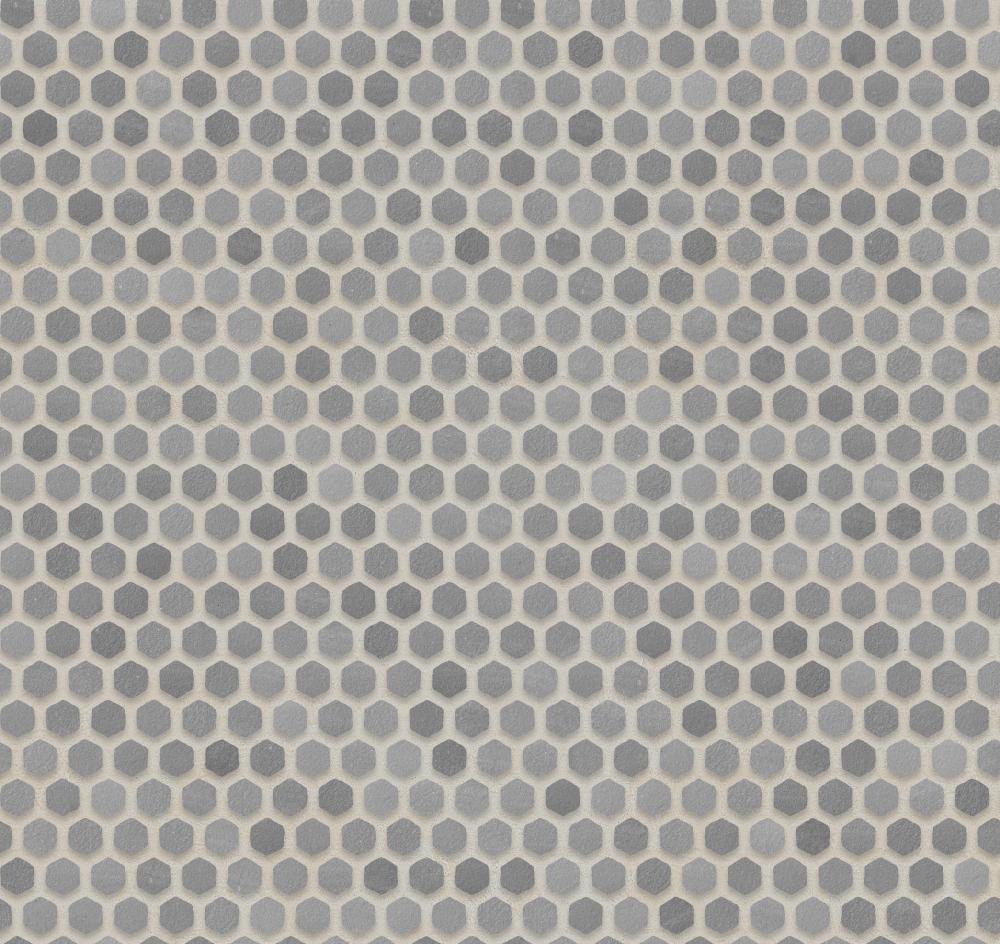 A seamless ceramic texture with matte tiles arranged in a hexagonal pattern