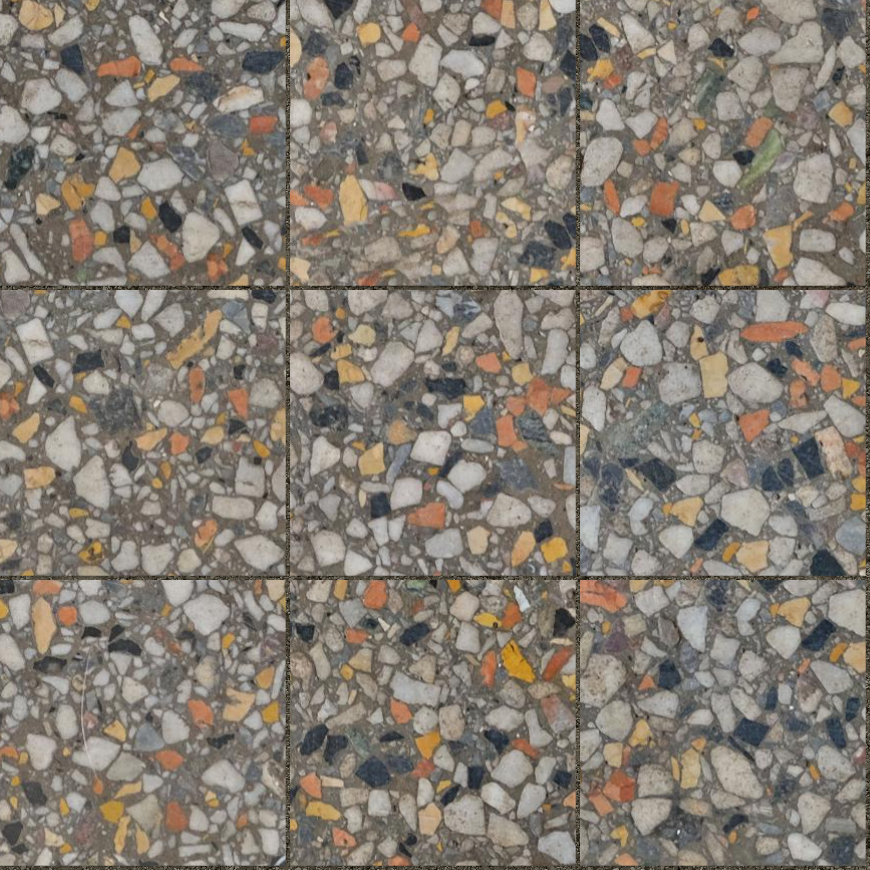 A seamless terrazzo texture with holmlea terrazzo  arranged in a stack pattern