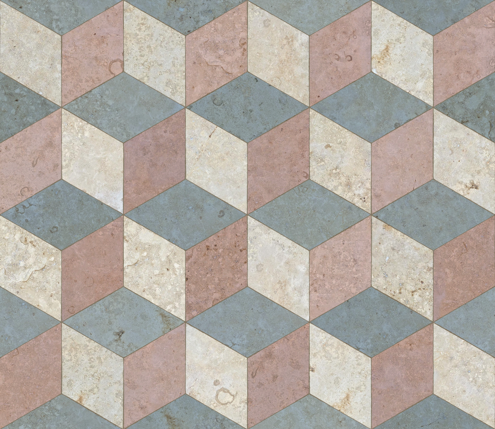 A seamless stone texture with limestone blocks arranged in a cubic pattern
