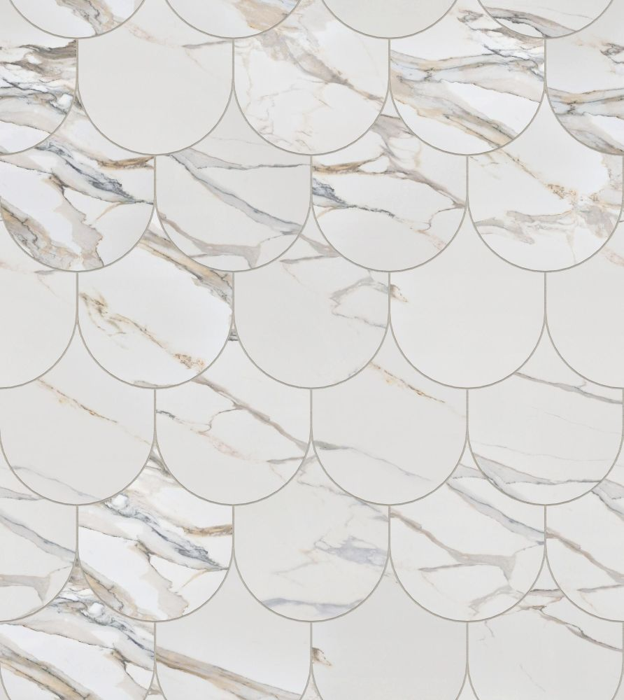 A seamless stone texture with calacatta gold blocks arranged in a fishscale pattern
