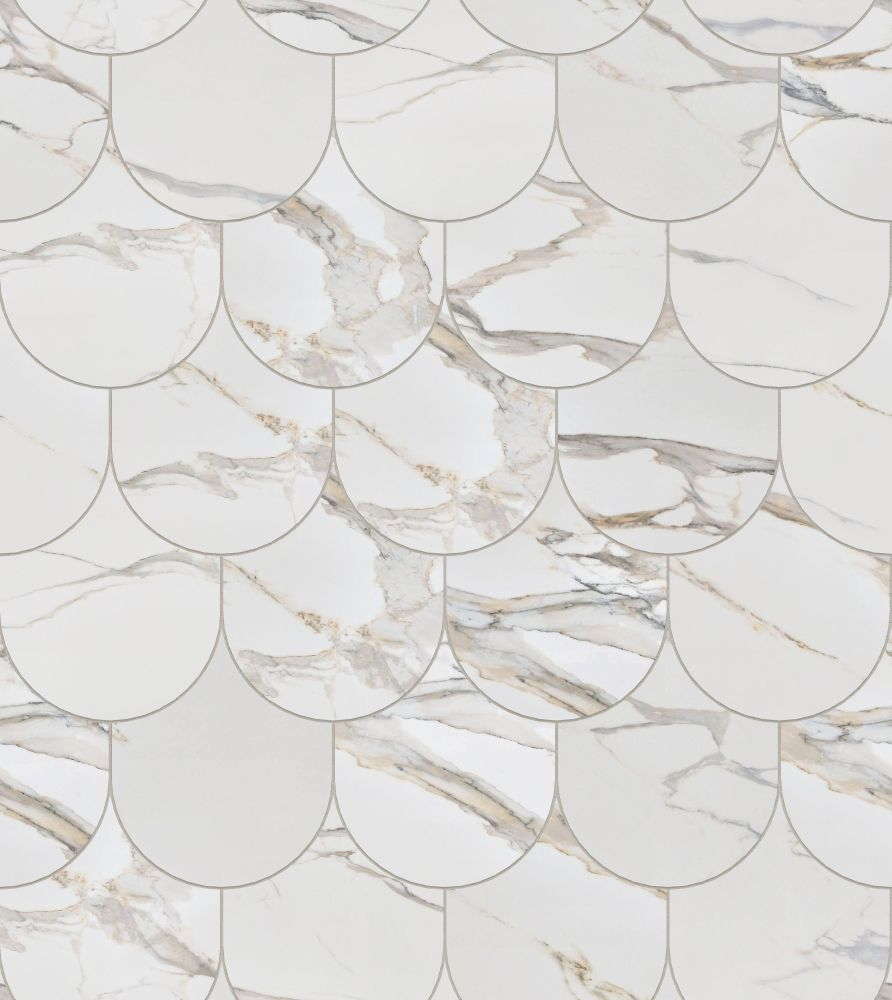 A seamless  texture with calacatta gold  arranged in a fishscale pattern