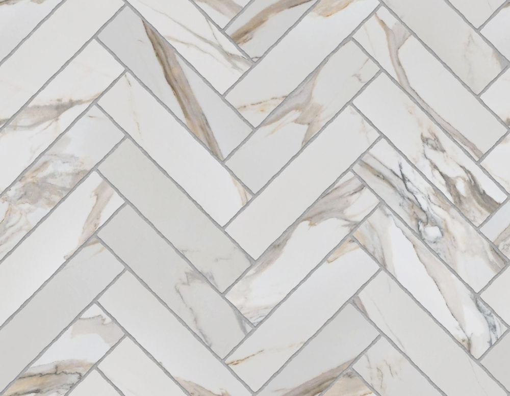 A seamless stone texture with calacatta gold blocks arranged in a herringbone pattern