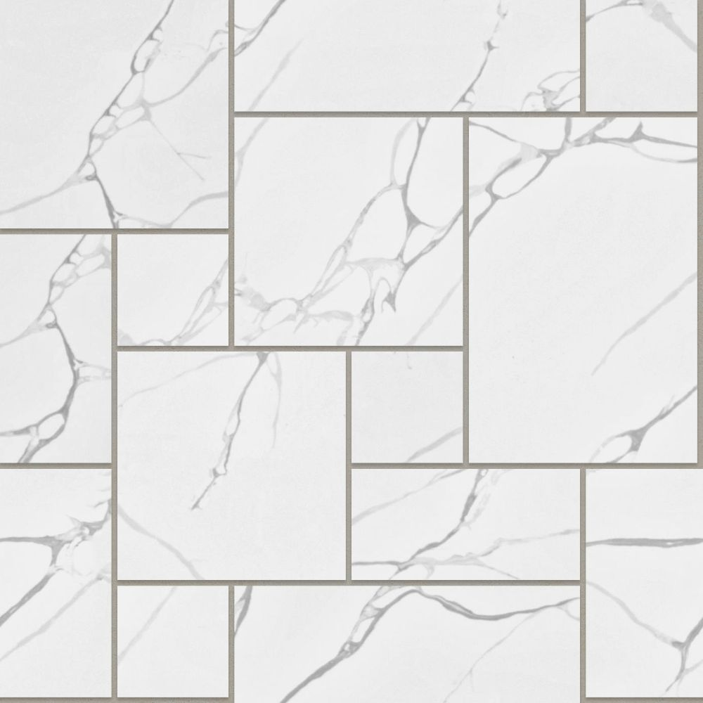 A seamless stone texture with calacatta vena blocks arranged in a french pattern