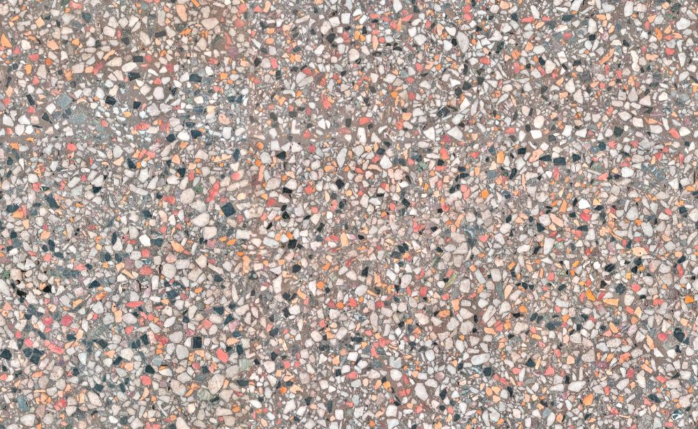 A seamless terrazzo texture with holmlea terrazzo  arranged in a none pattern
