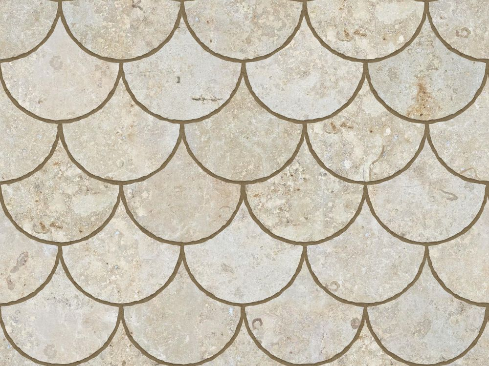 A seamless stone texture with limestone blocks arranged in a fishscale pattern